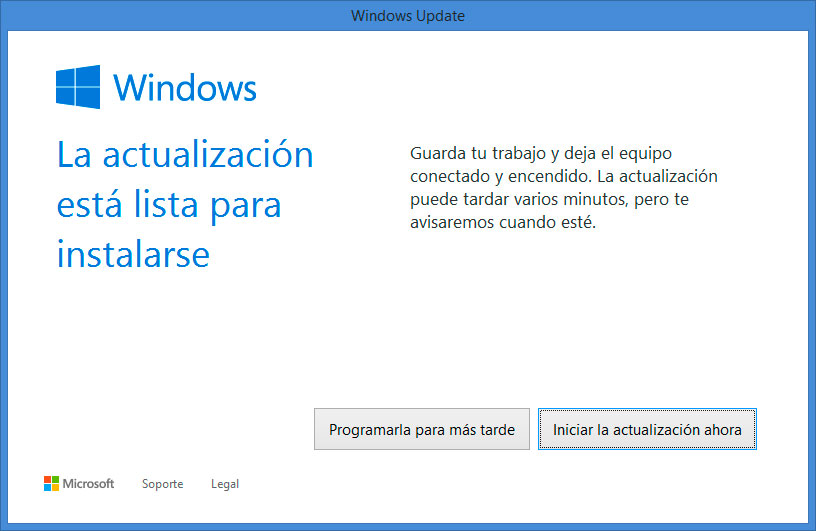 Forzar Actualización de Windows 10